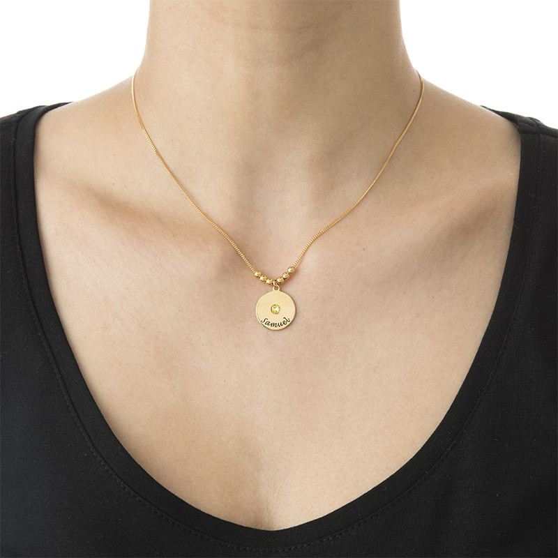 Mothers Disc and Birthstone Necklace in 18k Gold Plated - 2