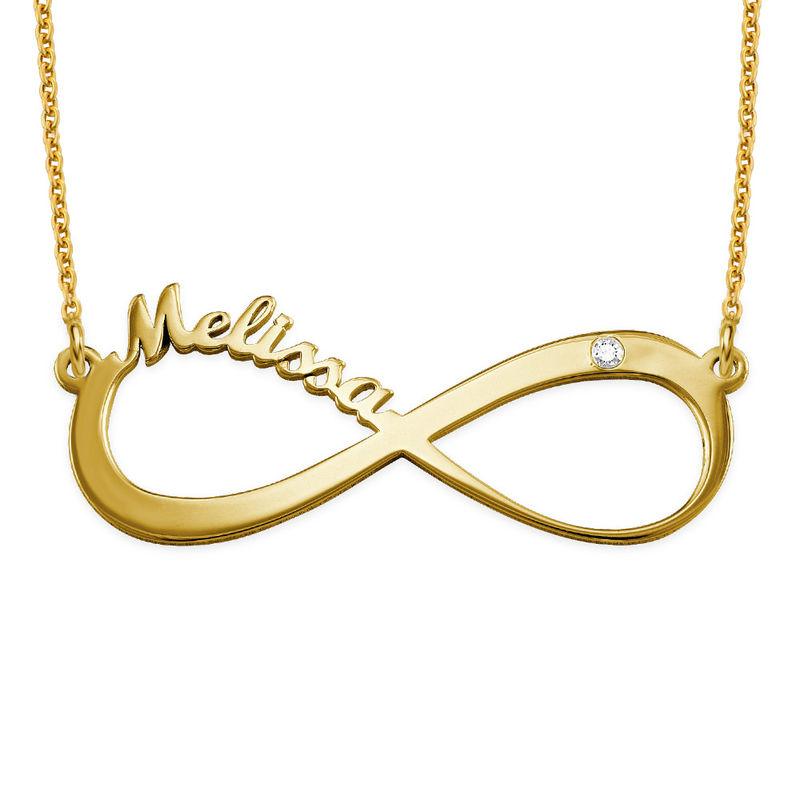 Infinity Name Vermeil Diamond Necklace - 1