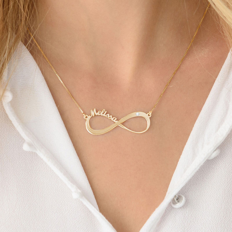 Infinity Name Vermeil Diamond Necklace - 3
