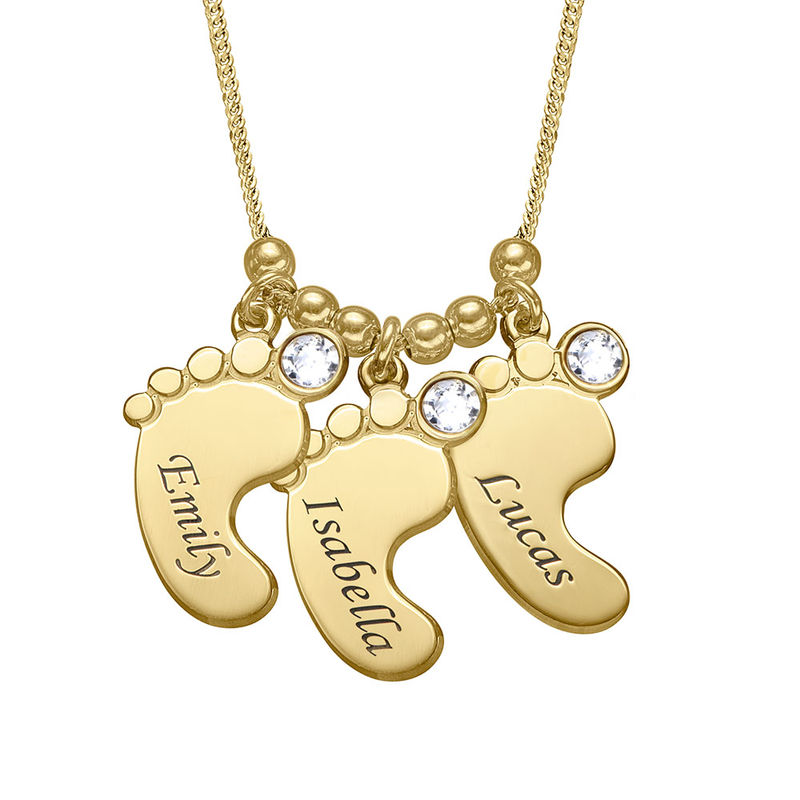 Mom Jewelry - Baby Feet Necklace with Gold Plating - 1