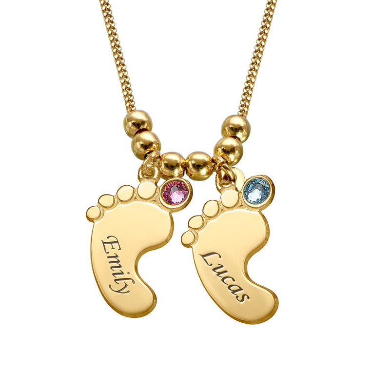 Mom Jewelry - Baby Feet Necklace with Gold Plating - 2