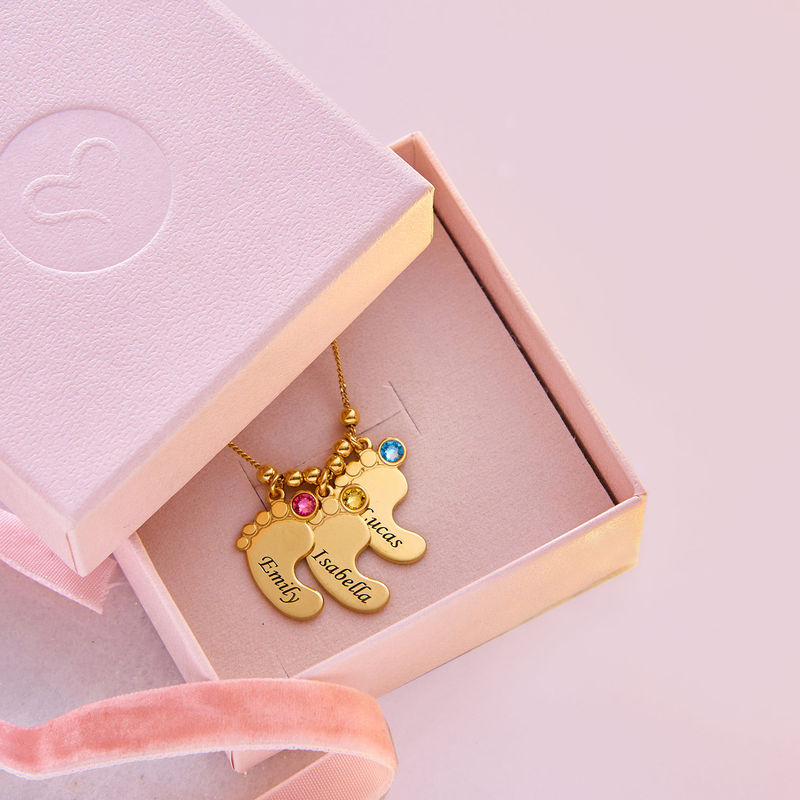 Mom Jewelry - Baby Feet Necklace with Gold Plating - 6