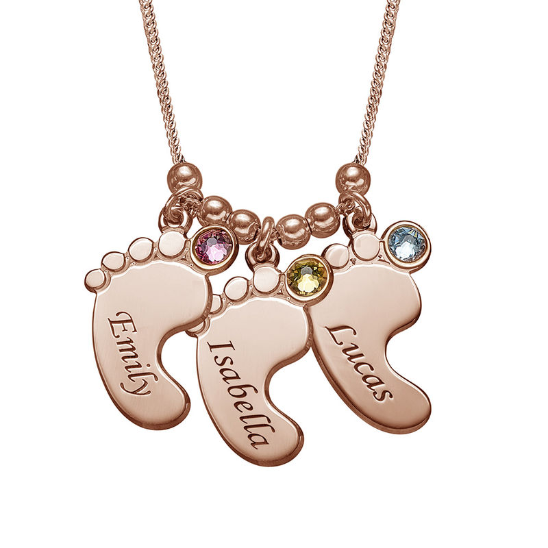 Mom Jewelry - Baby Feet Necklace with Rose Gold Plating