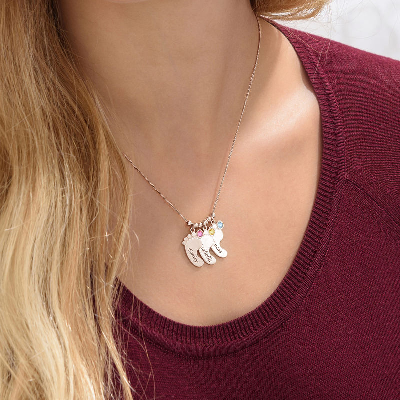 Mom Jewelry - Baby Feet Necklace with Rose Gold Plating - 5