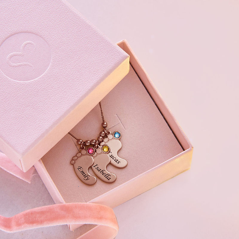 Mom Jewelry - Baby Feet Necklace with Rose Gold Plating - 7