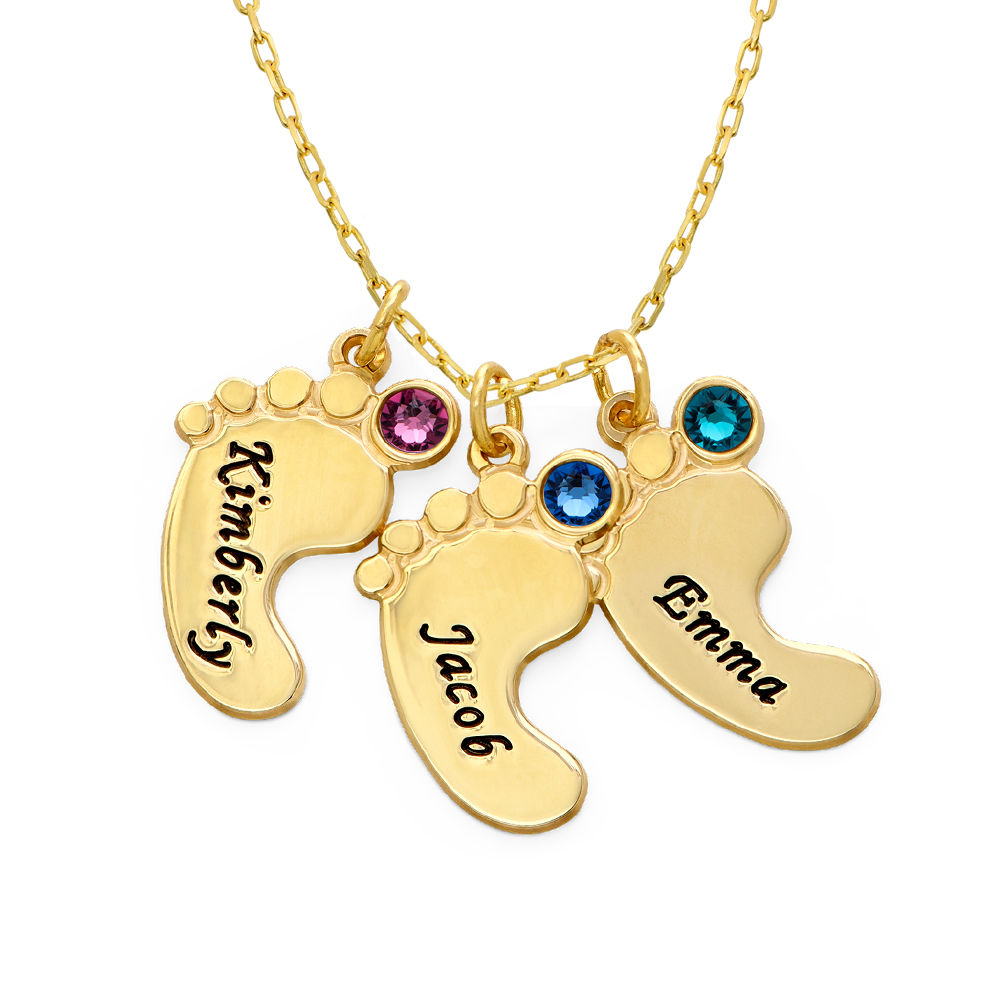 Mom Jewelry - Baby Feet Necklace In 10K Yellow Gold