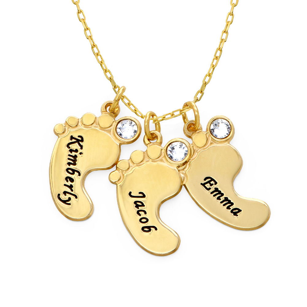 Mom Jewelry - Baby Feet Necklace In 10K Yellow Gold - 1