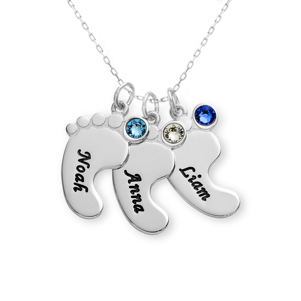Baby Feet Necklace In 10K White Gold