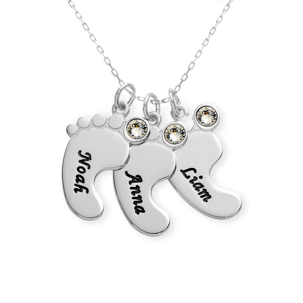 Baby Feet Necklace In 10K White Gold - 1