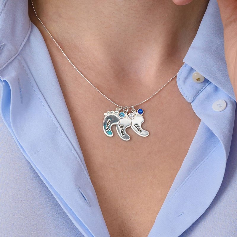 Baby Feet Necklace In 10K White Gold - 5
