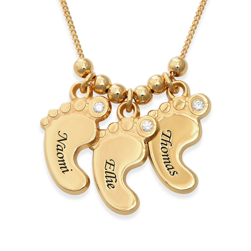 Mom Jewelry - Baby Feet Necklace in Vermeil