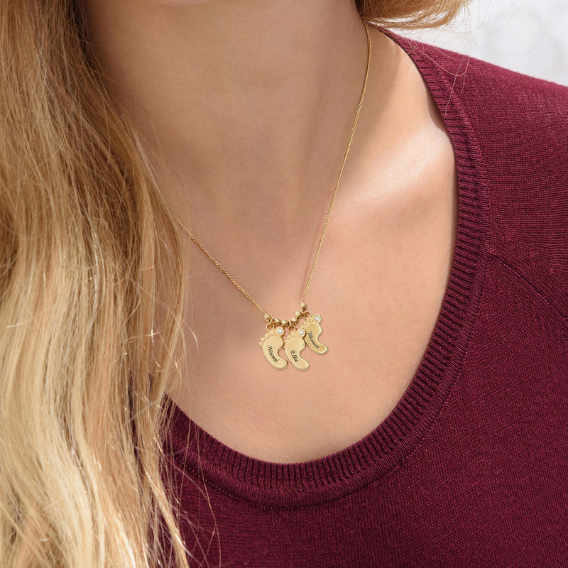 Mom Jewelry - Baby Feet Necklace in Vermeil - 2
