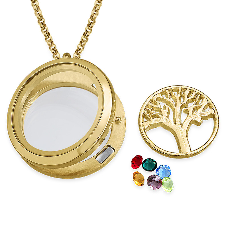 Family Tree Floating Locket with Gold Plating - 1