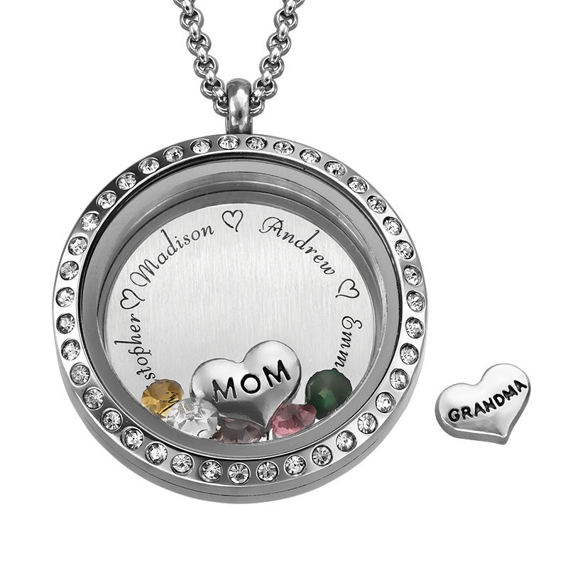 Engraved Floating Charms Locket - For Mom or Grandma