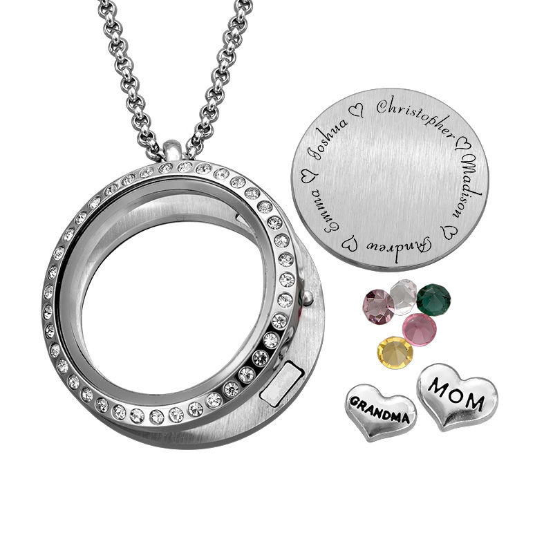 Engraved Floating Charms Locket - For Mom or Grandma - 1