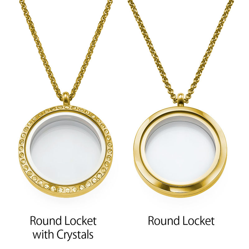 Engraved Floating Charms Locket - For Mom or Grandma with Gold Plating - 2
