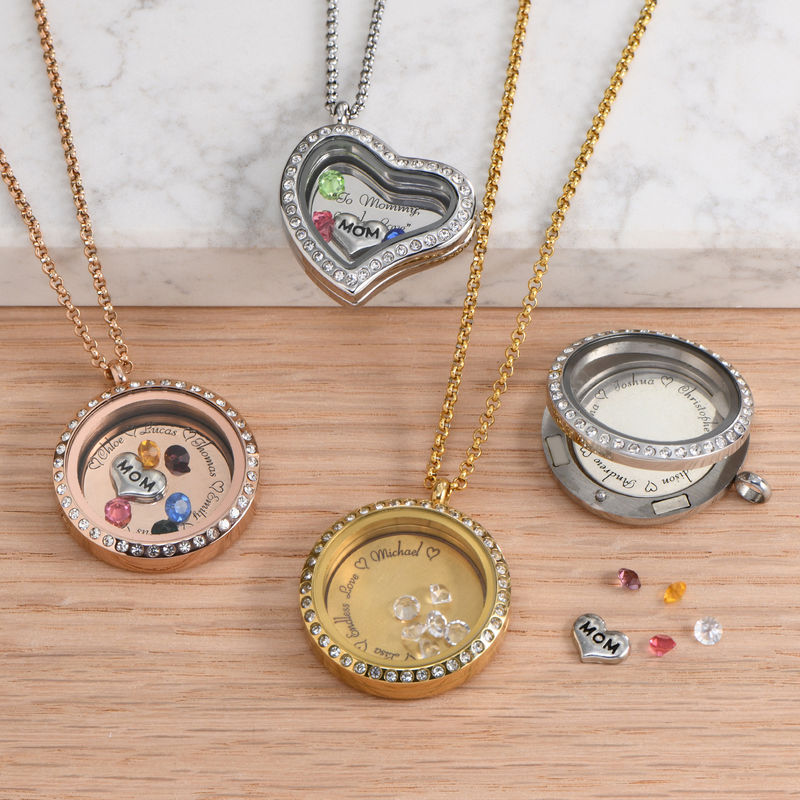 Engraved Floating Charms Locket - For Mom or Grandma with Gold Plating - 4