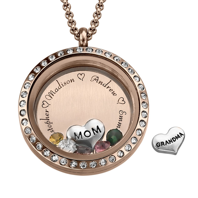 Engraved Floating Charms Locket with Rose Gold Plating - For Mom or Grandma