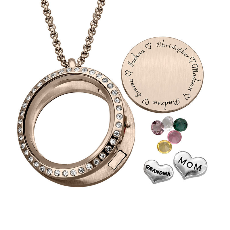Engraved Floating Charms Locket with Rose Gold Plating - For Mom or Grandma - 1