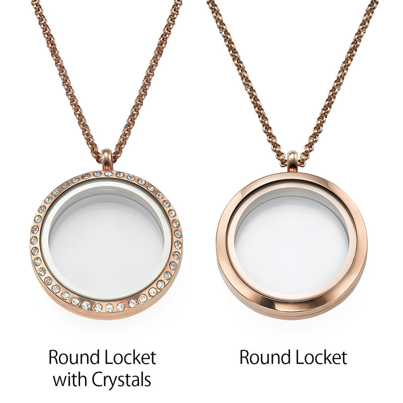 Engraved Floating Charms Locket with Rose Gold Plating - For Mom or Grandma - 2