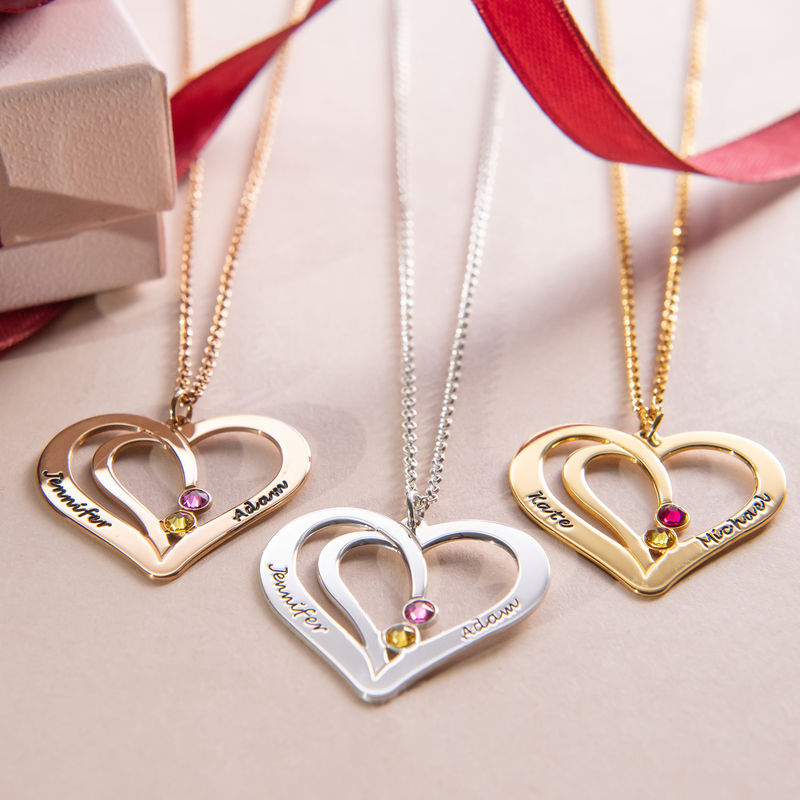 Engraved Couple Birthstone Necklace - Rose Gold Plated - 2