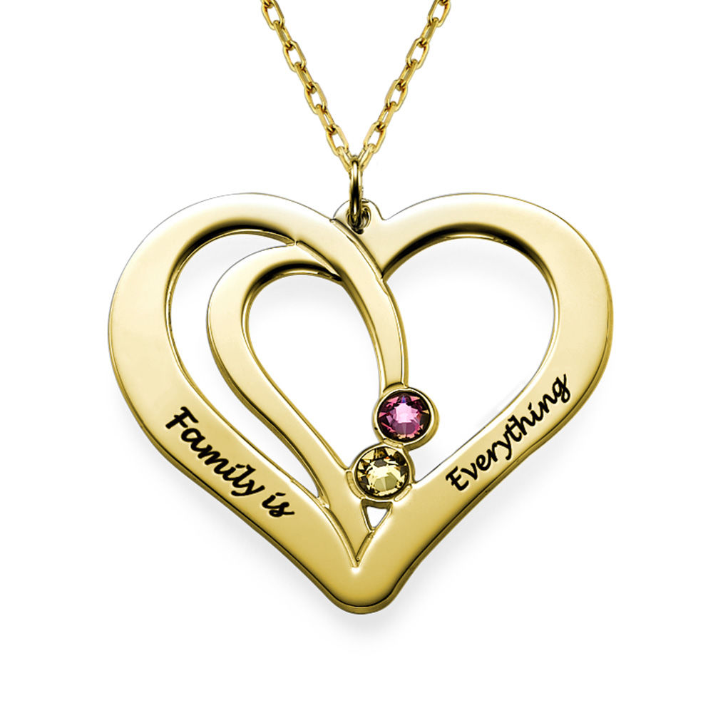 Engraved Couples Birthstone Necklace in 10K Solid Gold - 1