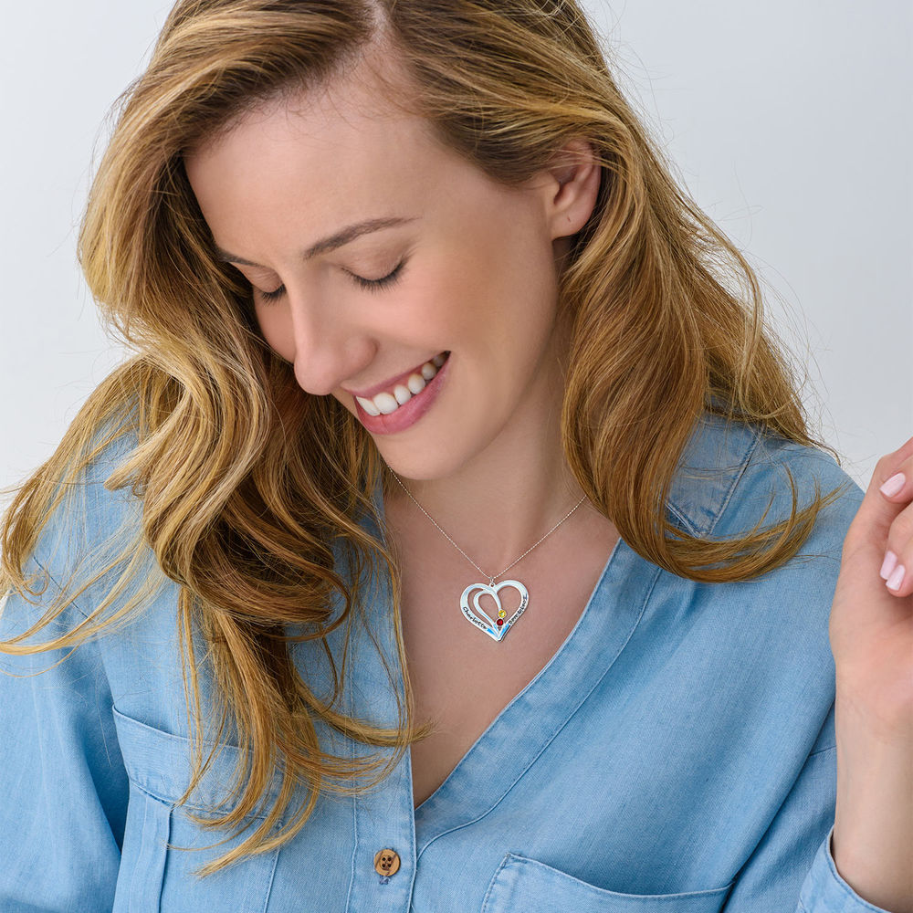 Engraved Couples Birthstone Necklace in 10K White Gold - 1