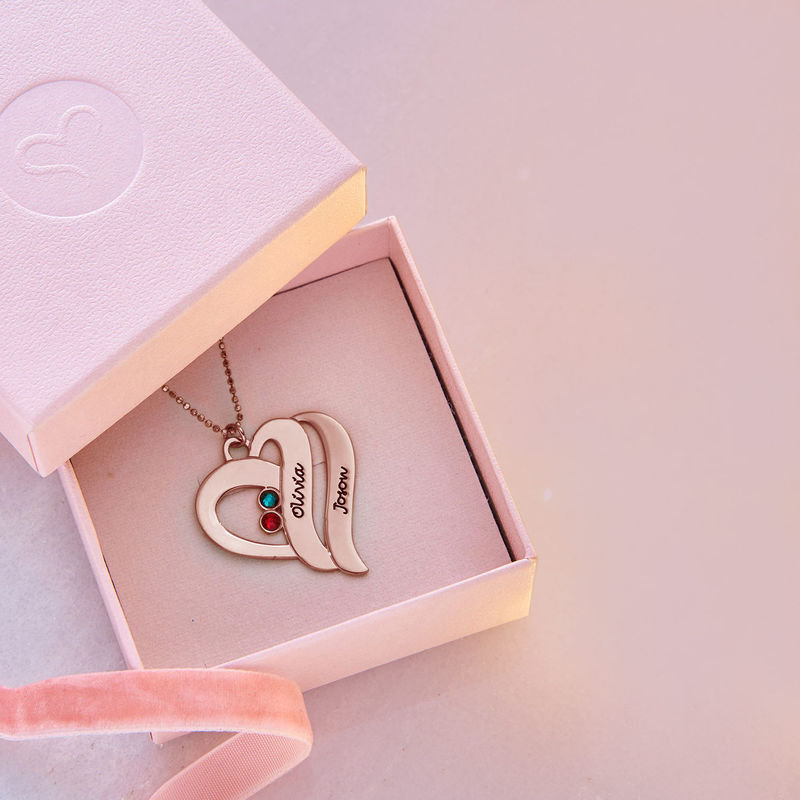 Two Hearts Forever One Necklace with Birthstones - Rose Gold Plated - 6