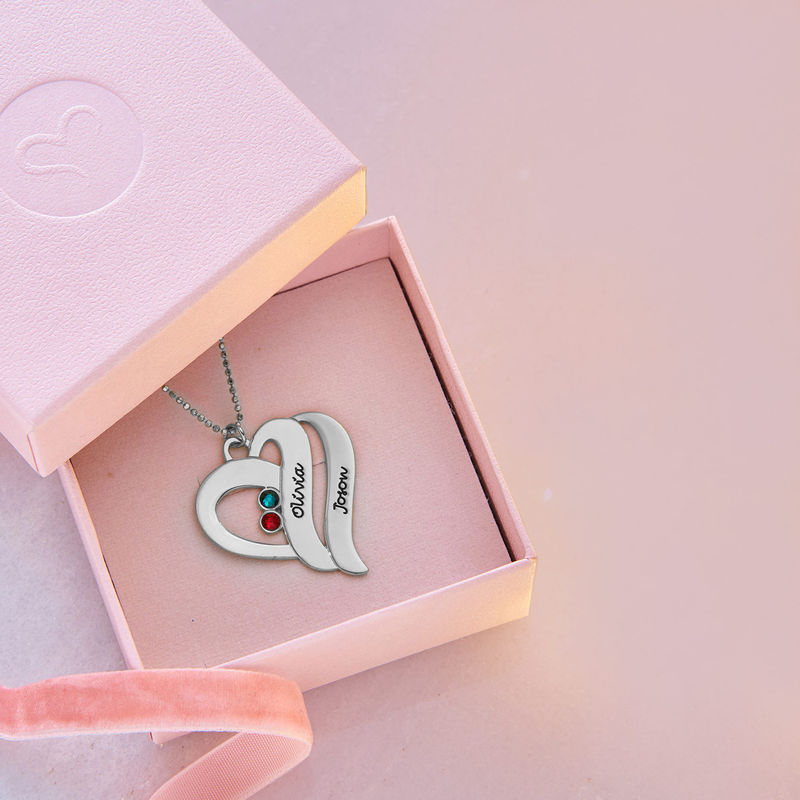 Two Hearts Forever One Necklace - 10k White Gold - 5
