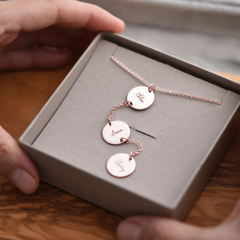 Personalized Y Necklace in Rose Gold Plating - 4
