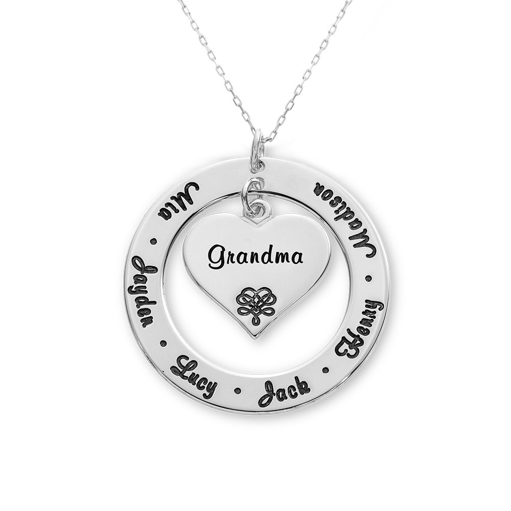 10K White Gold Grandmother / Mother Necklace - 1