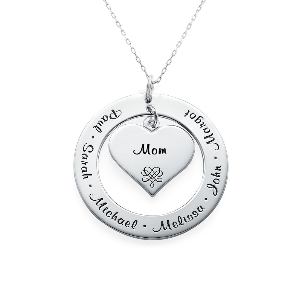 10K White Gold Grandmother / Mother Necklace - 2