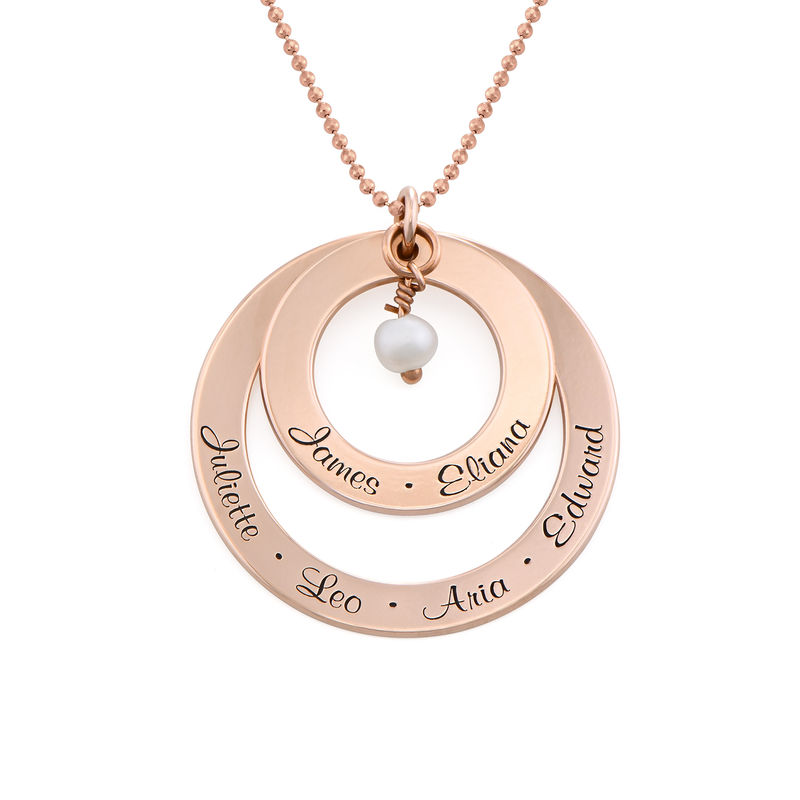 Grandmother Birthstone Necklace in Rose Gold Plating