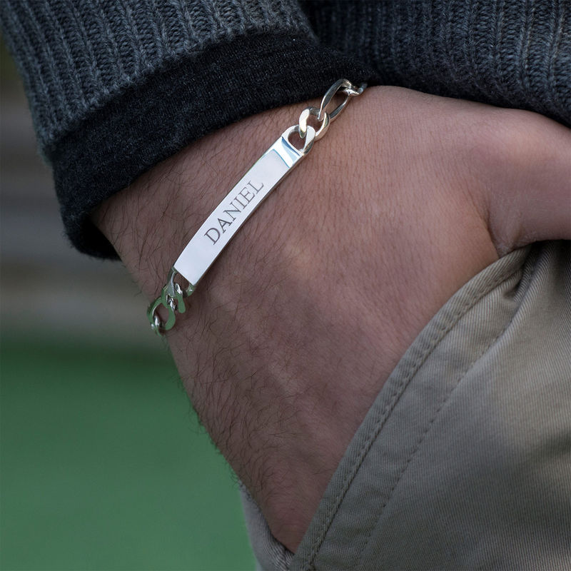 Heavy Sterling Silver Mens ID Name Bracelet - 1