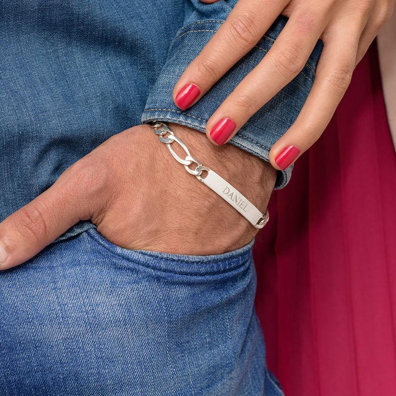 Heavy Sterling Silver Mens ID Name Bracelet - 6