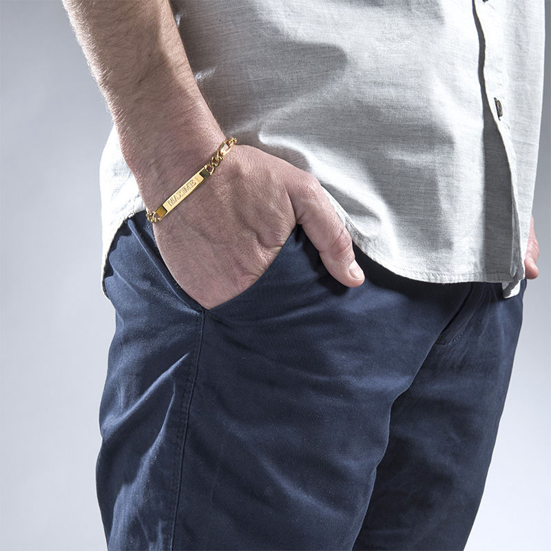 ID Bracelet for Men With Gold Plating - 2