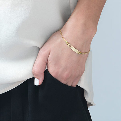 18k Gold-Plated Silver Girls ID Bracelet with Heart - 2