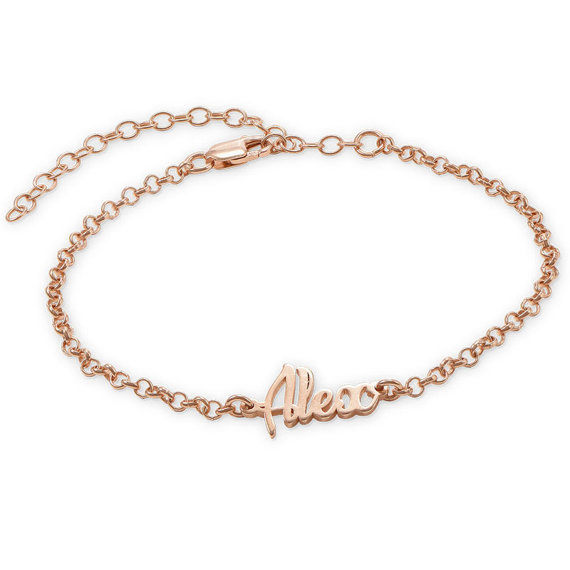 Ankle Bracelet with Name in Rose Gold Plating