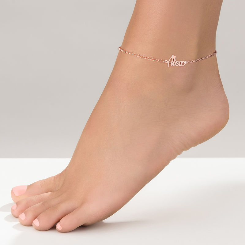 Ankle Bracelet with Name in Rose Gold Plating - 1