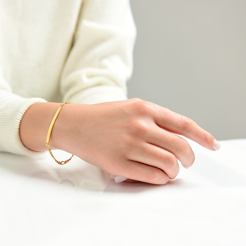 Womens ID Bracelet with Gold Plating - 2