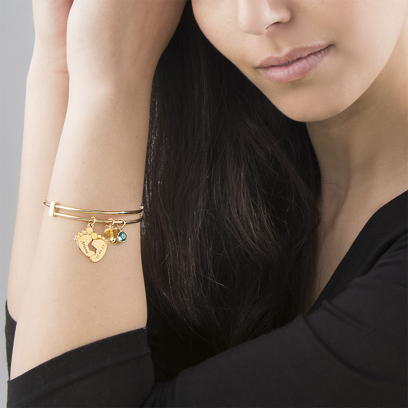 Baby Feet Bangle Bracelet with Gold Plating - 3