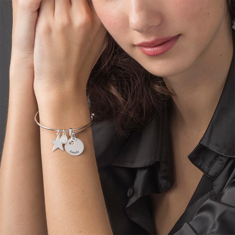 Bangle Charm Bracelet with Engraved Name - 2