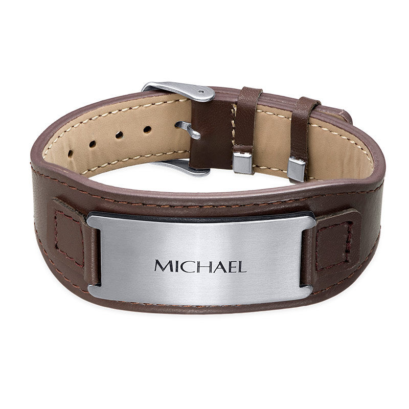 Mens ID Bracelet in Brown Leather - 1