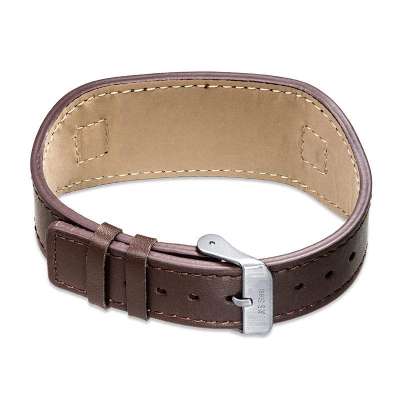 Mens ID Bracelet in Brown Leather - 2