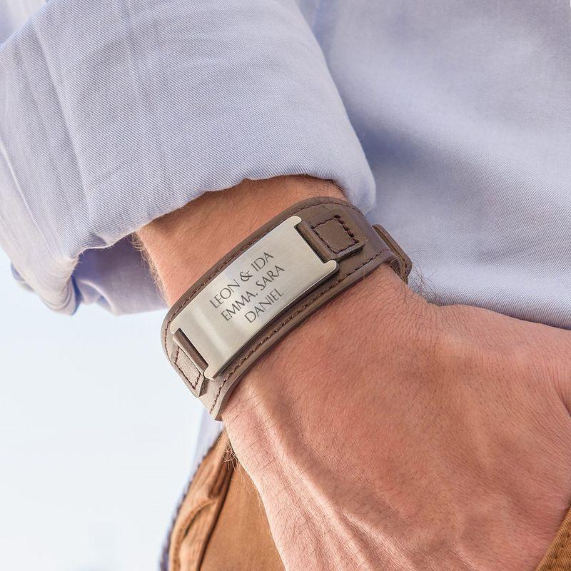 Mens ID Bracelet in Brown Leather - 3