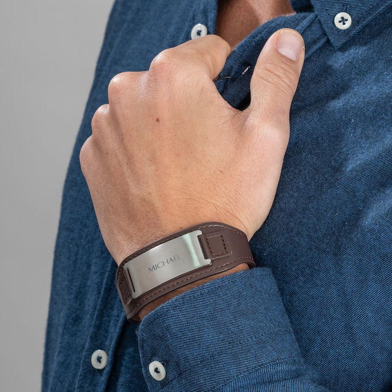Mens ID Bracelet in Brown Leather - 4