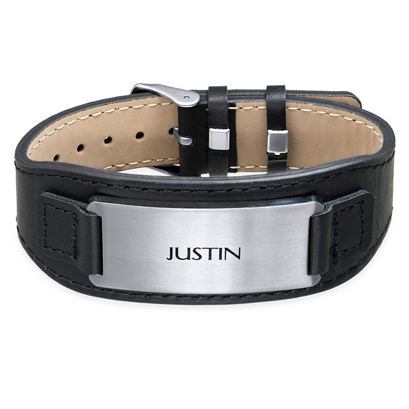 Mens ID Bracelet in Black Leather - 1