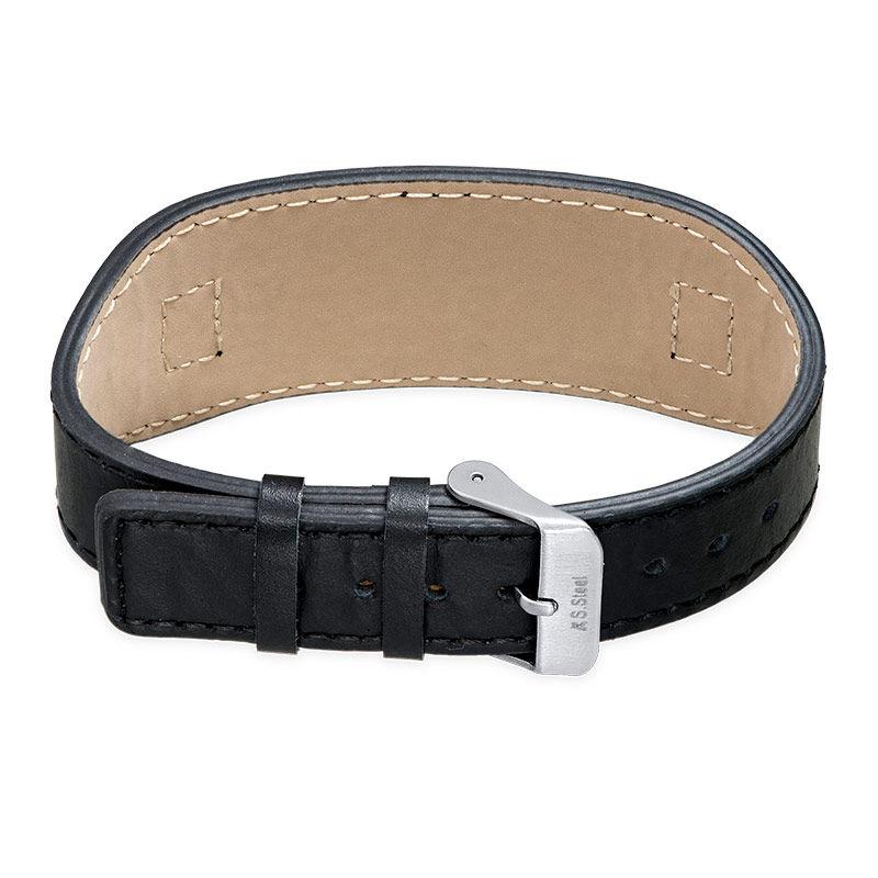 Mens ID Bracelet in Black Leather - 2
