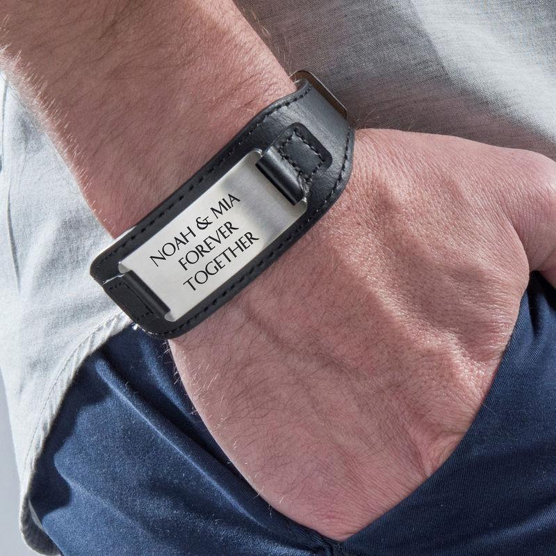 Mens ID Bracelet in Black Leather - 3