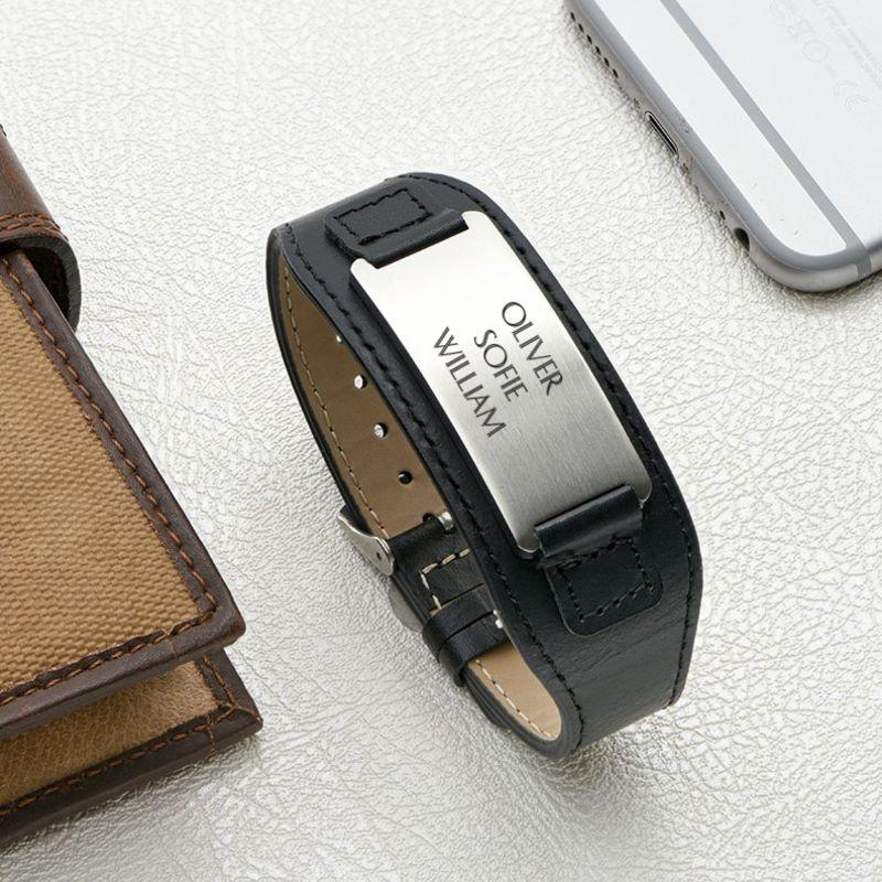 Mens ID Bracelet in Black Leather - 5
